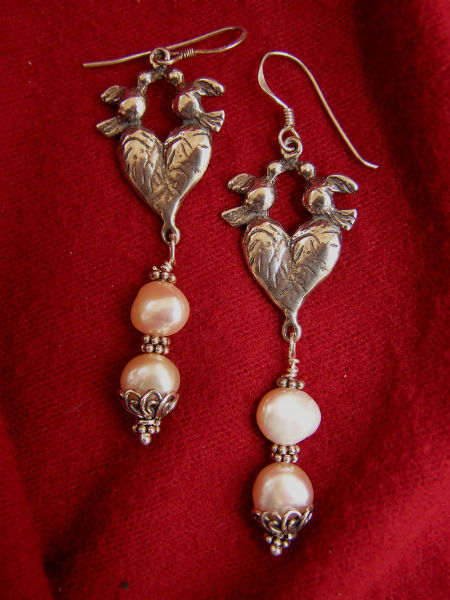 Doves and Pearls Earrings